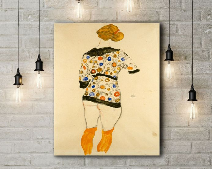 Egon Schiele Standing Woman in a Patterned Blouse. Fine Art Canvas.